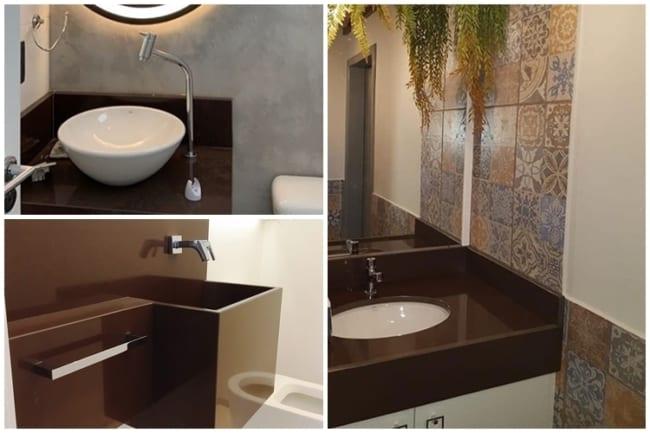 bancada de banheiro em granito marrom absoluto