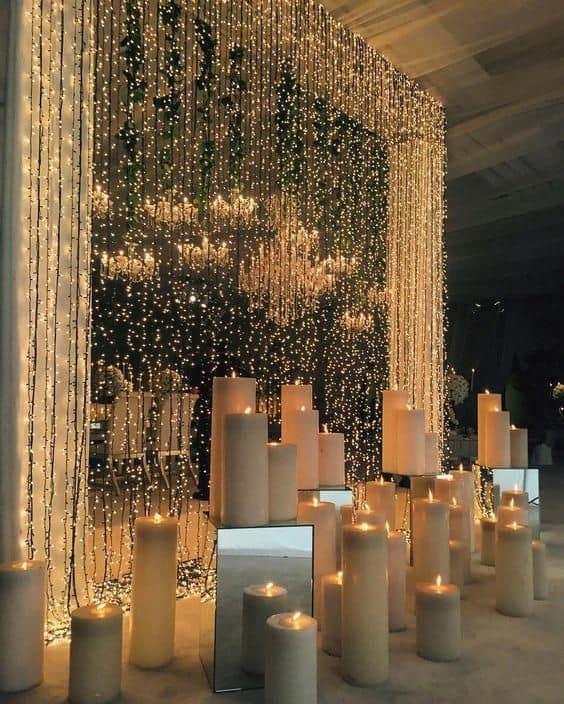 decoração de luxo para festa com cortina de led