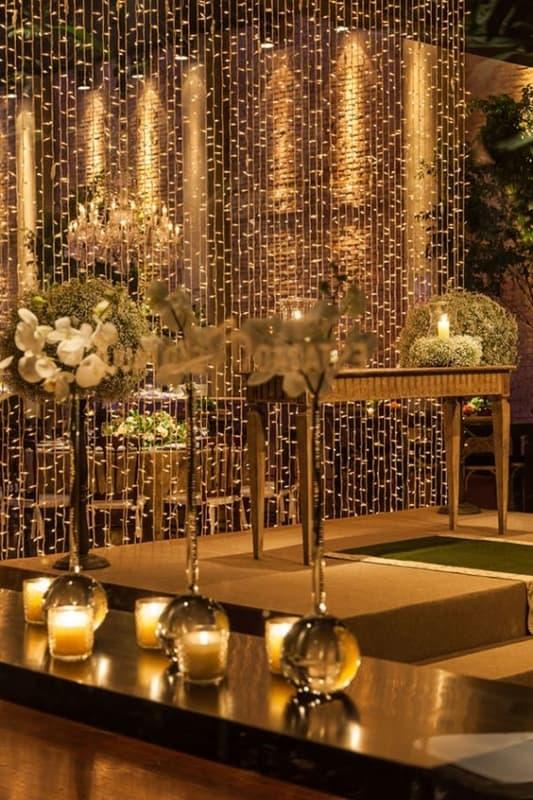 decoração para casamento com cordão de luzinhas