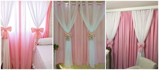 quarto com cortina rosa infantil