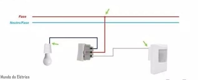 como instalar sensor de presença com interruptor parelo