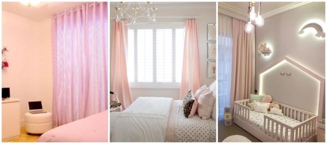 cortina rosa bebê em quarto
