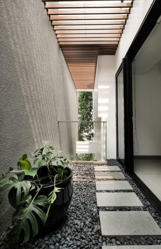 casa moderna com muro de chapisco