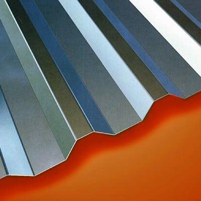 Detalhe de telha de alumínio Trapezoidal