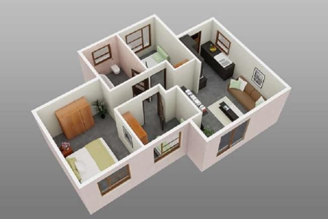 casa com tres quartos