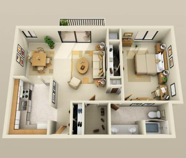 casa com um quarto