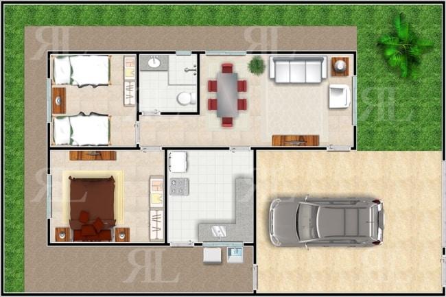 casa pequena com garagem