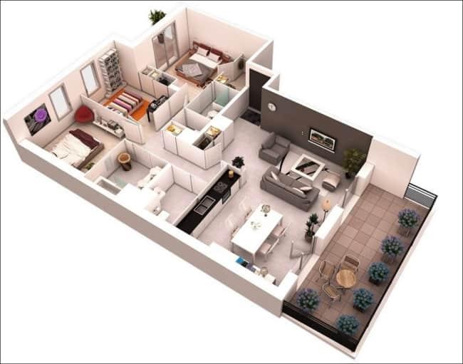 casa projetada com tres quartos