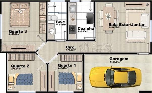 casa simples com 3 quartos