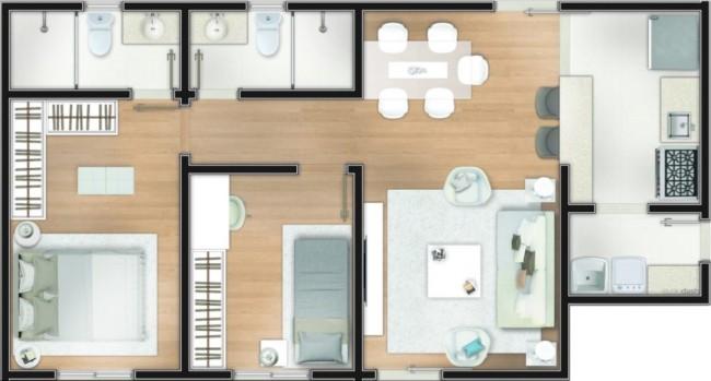 casas com dois quartos