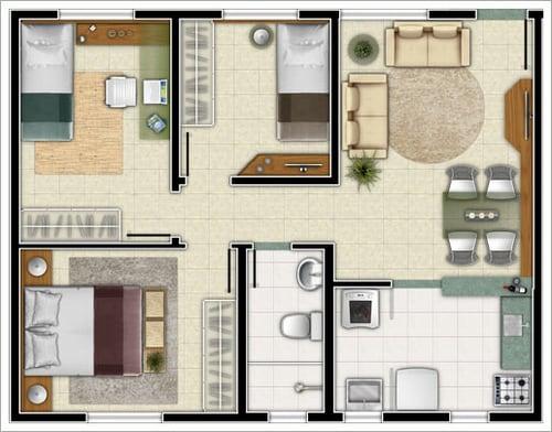 casas de tres quartos