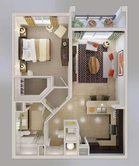 casas pequena com um quarto