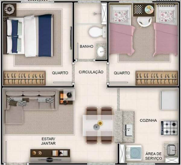 casas simples com dois quartos
