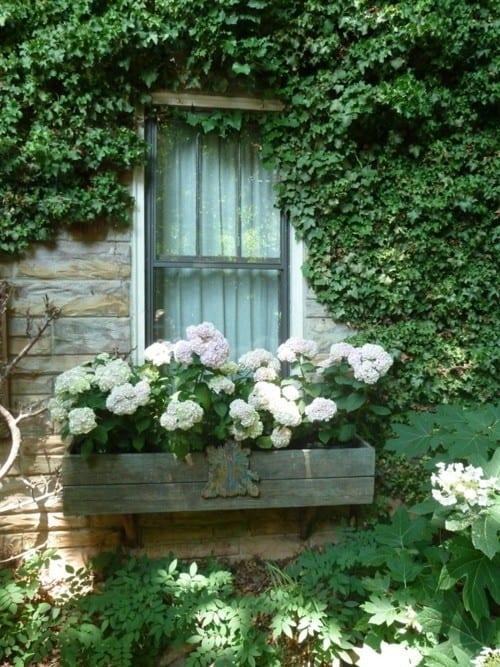 floreira de janela de madeira antiga