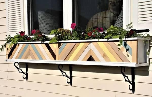 floreira de janela de madeira minimalista