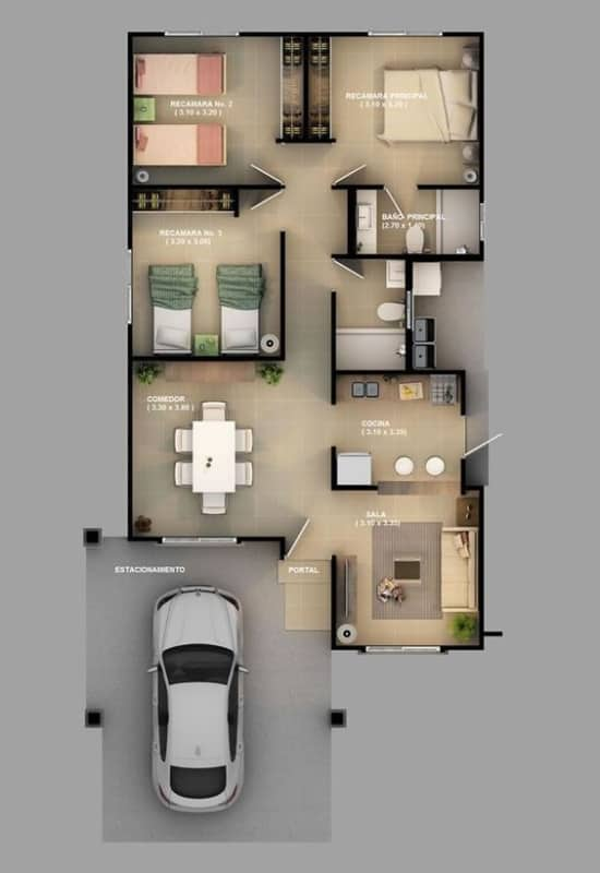 ideia de planta de casa com 3 quartos