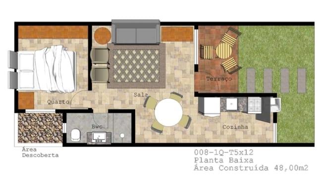 modelo de casa com um quarto