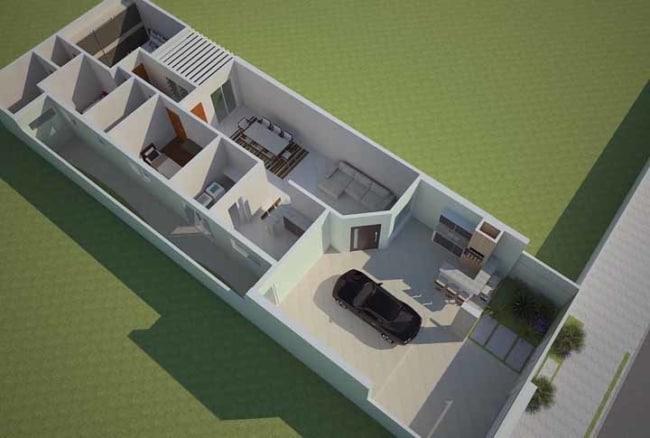 planta 3d de casas simples