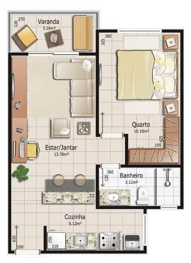 planta de casa simples com quarto grande