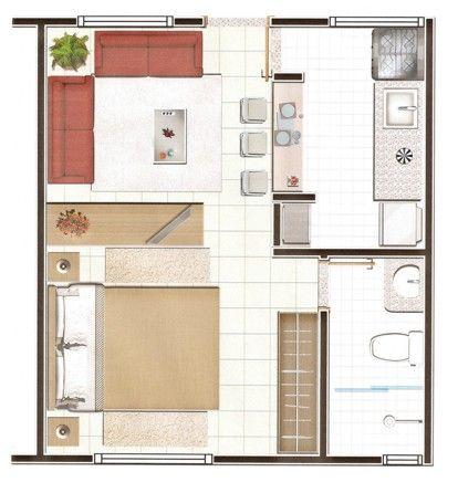 planta de casa simples com um quarto
