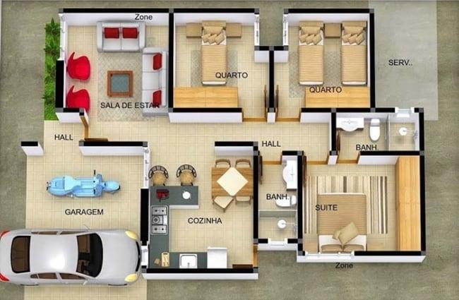 plantas de casas simples com garagem