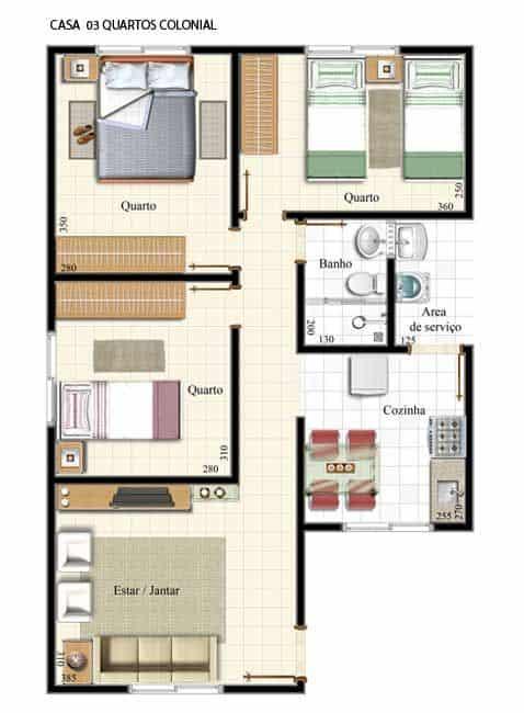 plantas de casas simples com quartos