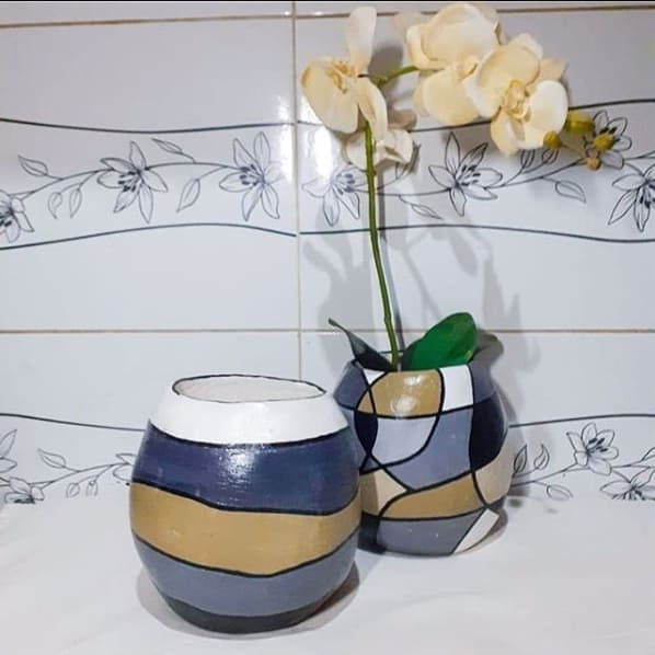 vaso de papietagem pintado