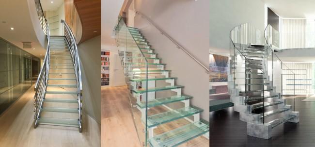 Tipos de escadas de vidro