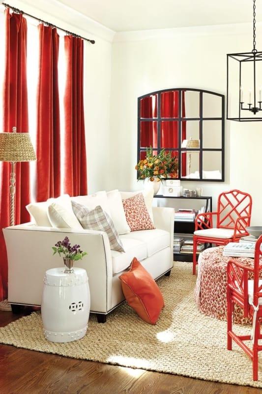 cortina vermelha em salas
