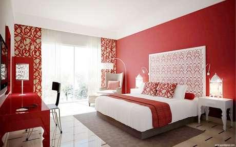 cortina vermelha estampada