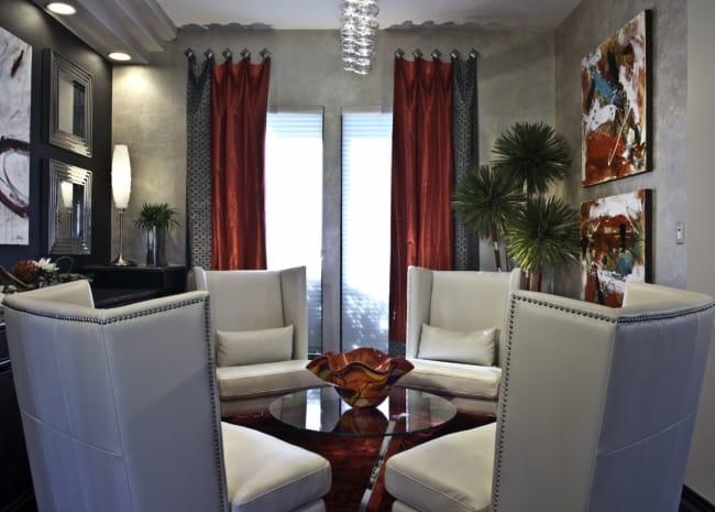 cortina vermelha na sala ideias