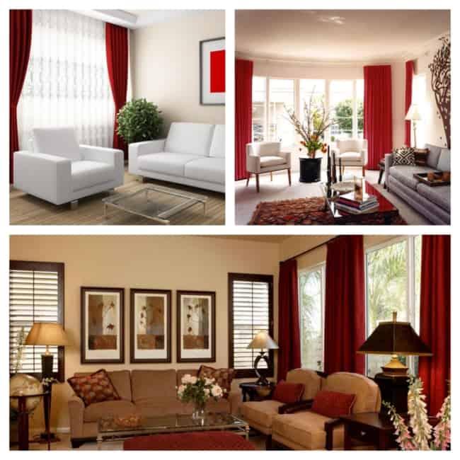 ideias de cortina vermelha na decoração