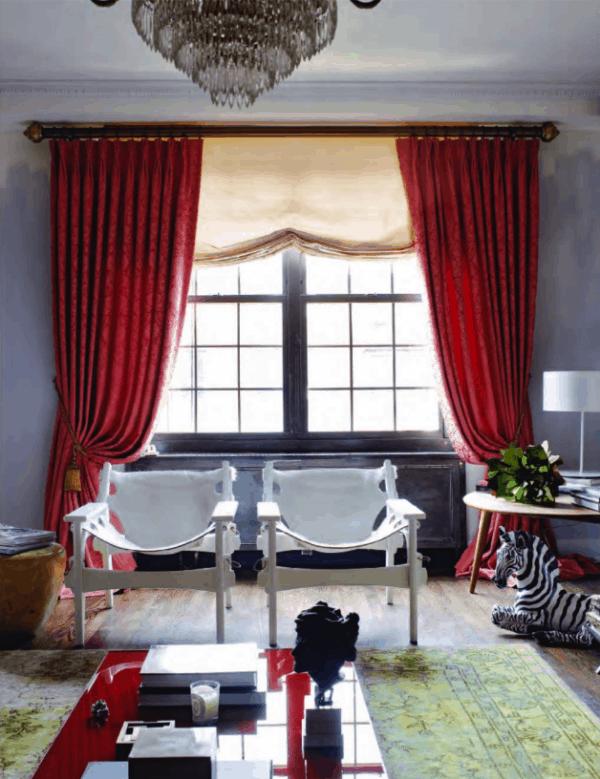 linda cortina vermelha