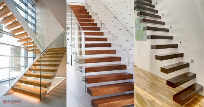 tipos de escadas flutuantes suspensas