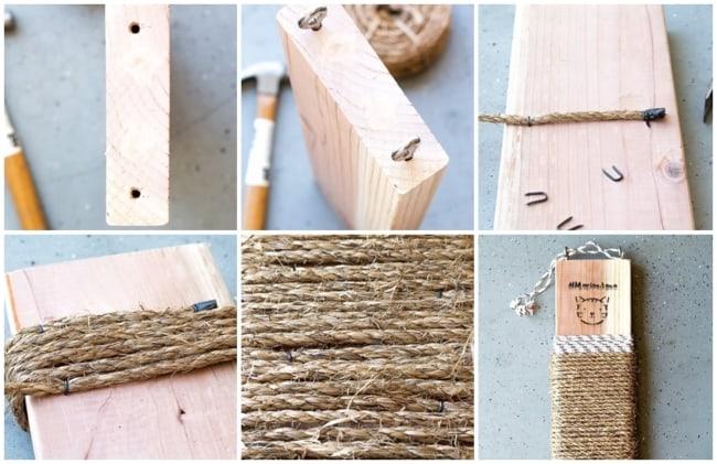 como fazer arranhador de gato com corda de sisal
