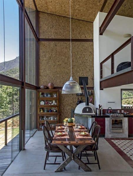casa moderna decorada com paredes de OSB