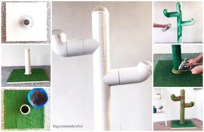 como fazer arranhador de gato em PVC