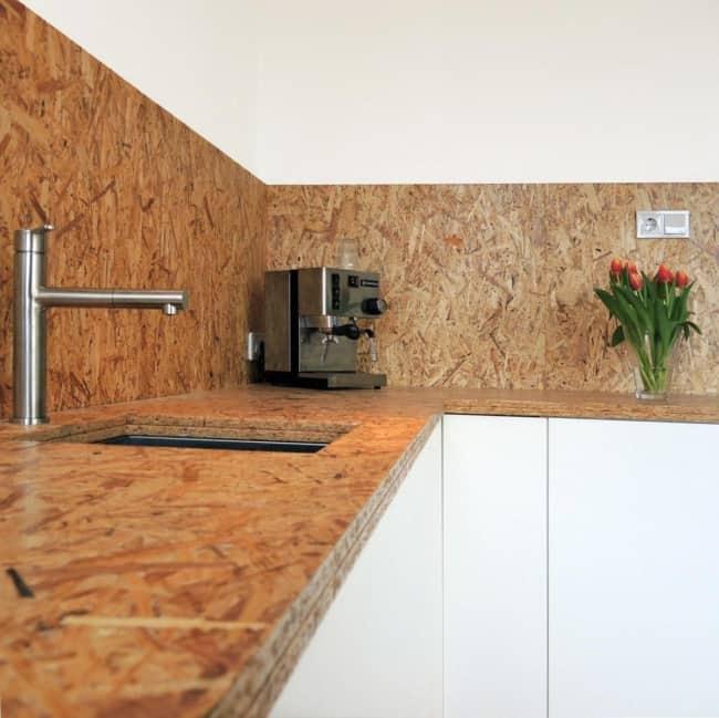 bancada de cozinha em OSB