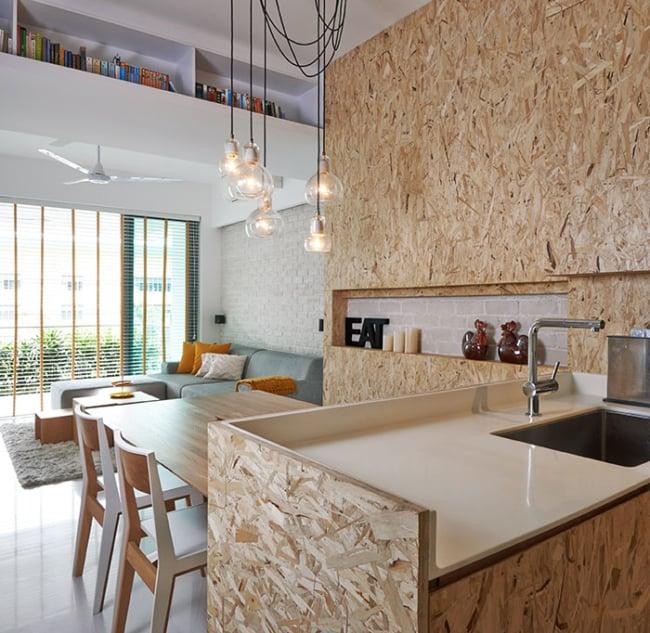 cozinha decorada com OSB