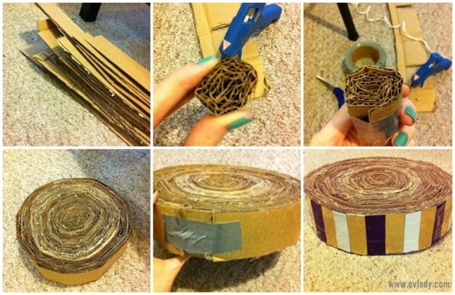 passo a passo simples para fazer arranhador de gato de papelao