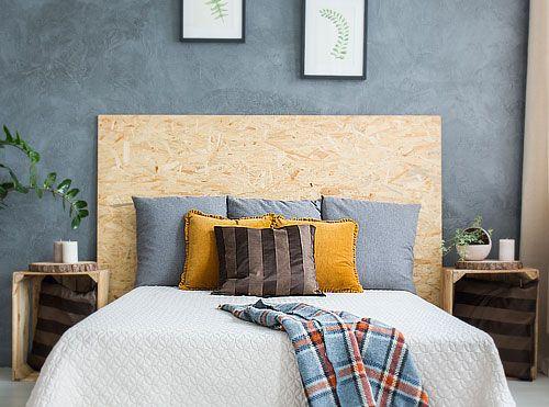 cabeceira da cama em OSB
