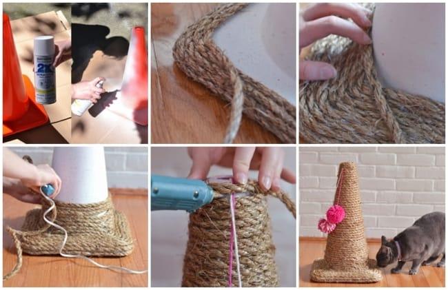 passo a passo de cone arranhador com corda de sisal