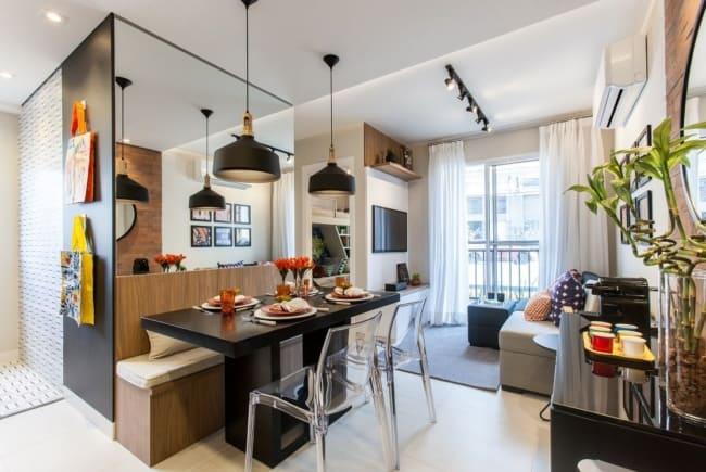 Ambientes integrados sao um grande coringa na decoracao de apartamentos pequenos
