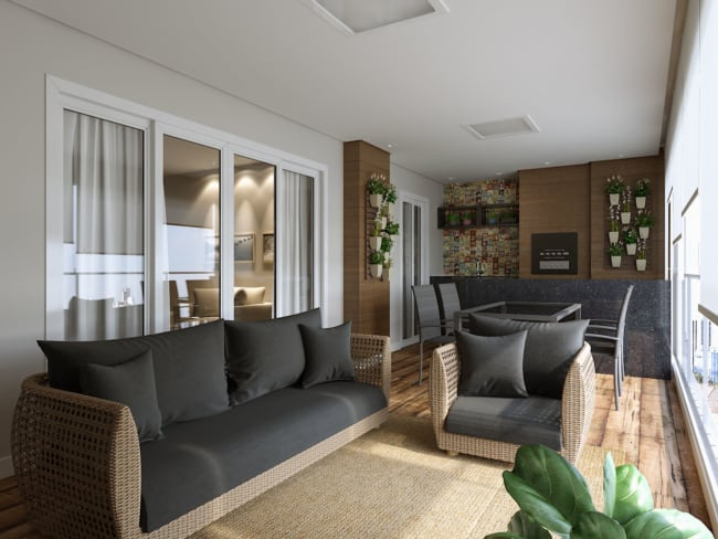 Apartamento decorado com jardim vertical