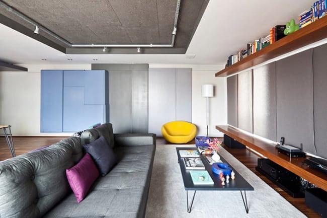 Apartamento decorado com sala grande e estilo moderno