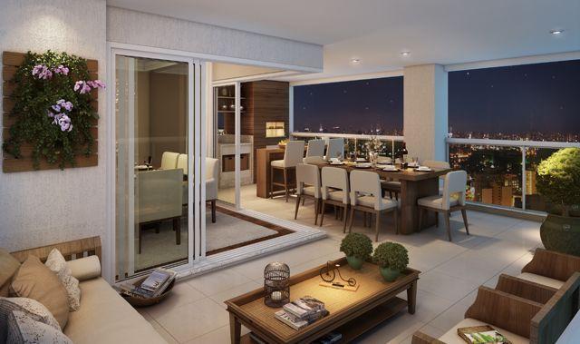 Apartamento decorado grande com belas janelas e moveis que ornam em toda decoracao