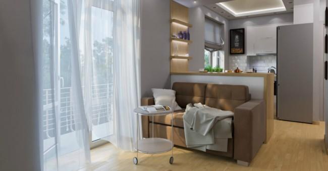 Apartamento pequeno com decoracao clean e iluminacao natural