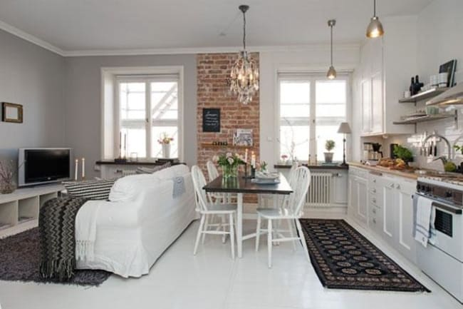 Apartamento pequeno e simples com ambientes integrados