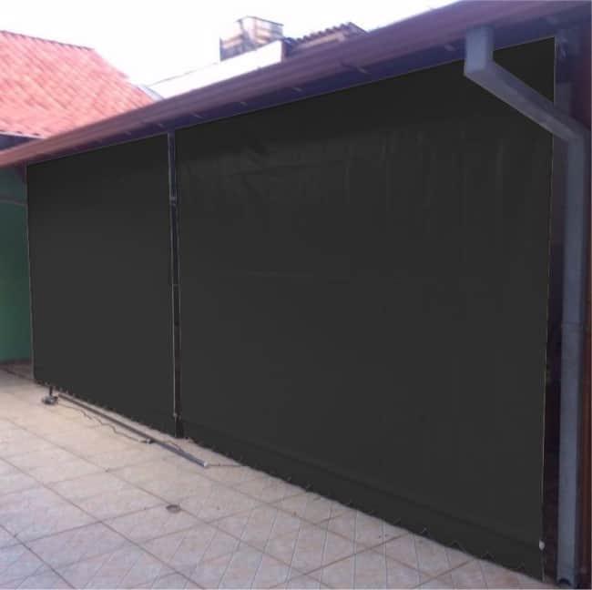 Toldo cortina preto para garagem