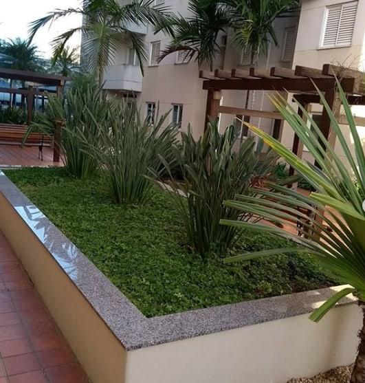 jardim externo com granito ocre itabira